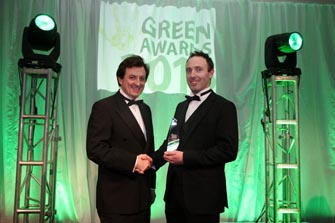 Tim Duggan, Managing Director of Enrich Environmental Ltd. receiving the Green Technology Award for the Enrich Green Roof Substrates